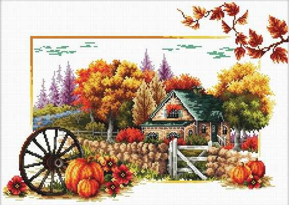 Autumn Farm Printed Cross Stitch Kit by Needleart World