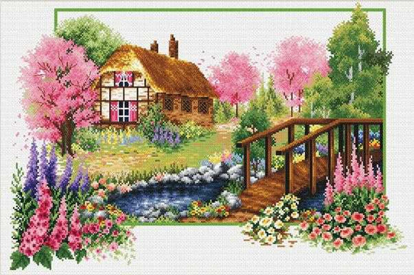 Spring Cottage Printed Cross Stitch Kit by Needleart World