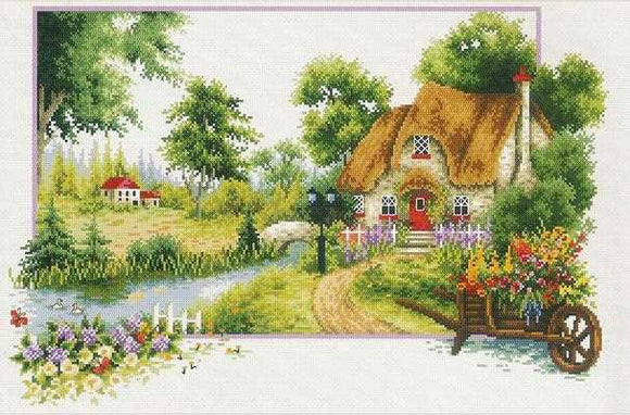 Summer Cottage Printed Cross Stitch Kit by Needleart World