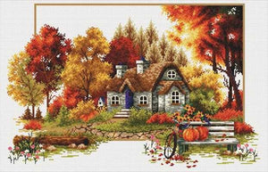 Autumn Cottage Printed Cross Stitch Kit by Needleart World