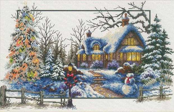 Winter Cottage Printed Cross Stitch Kit by Needleart World
