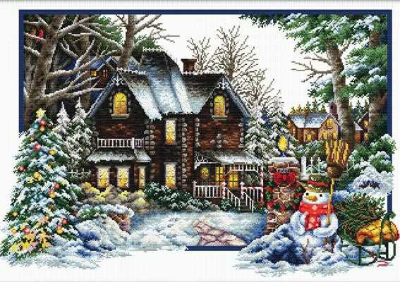 Winter Comes Printed Cross Stitch Kit by Needleart World