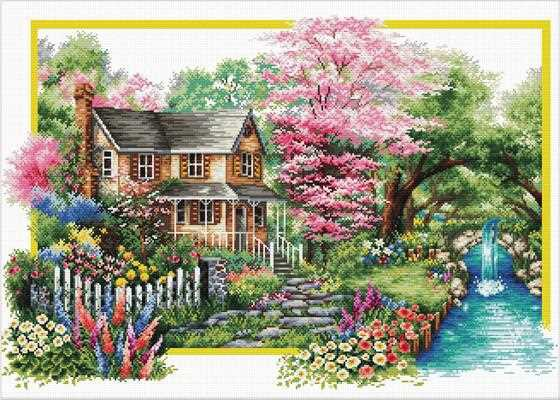 Spring Comes Printed Cross Stitch Kit by Needleart World