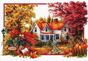Autumn Comes Printed Cross Stitch Kit by Needleart World