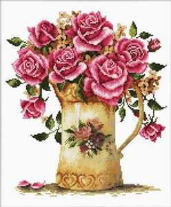 Antique Flower Vase Printed Cross Stitch Kit by Needleart World