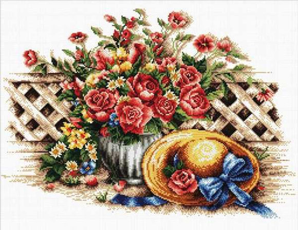 Roses and Sunhat Printed Cross Stitch Kit by Needleart World