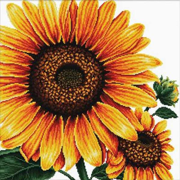 Sunflower Printed Cross Stitch Kit by Needleart World