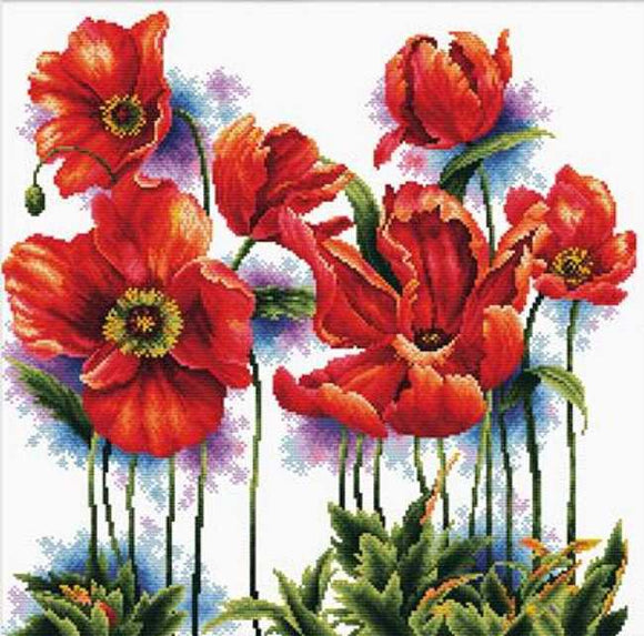Lovely Poppies Printed Cross Stitch Kit by Needleart World