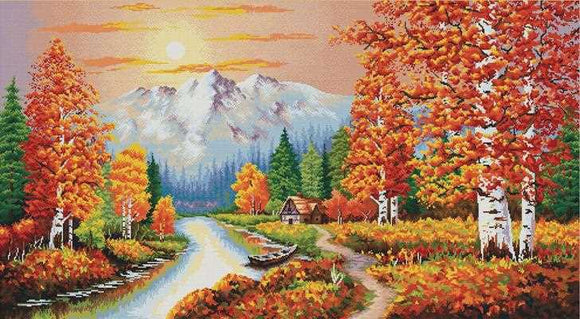 A Flaming Sunset Printed Cross Stitch Kit by Needleart World