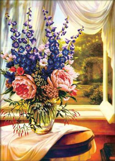 Floral Vase by the Window Printed Cross Stitch Kit by Needleart World