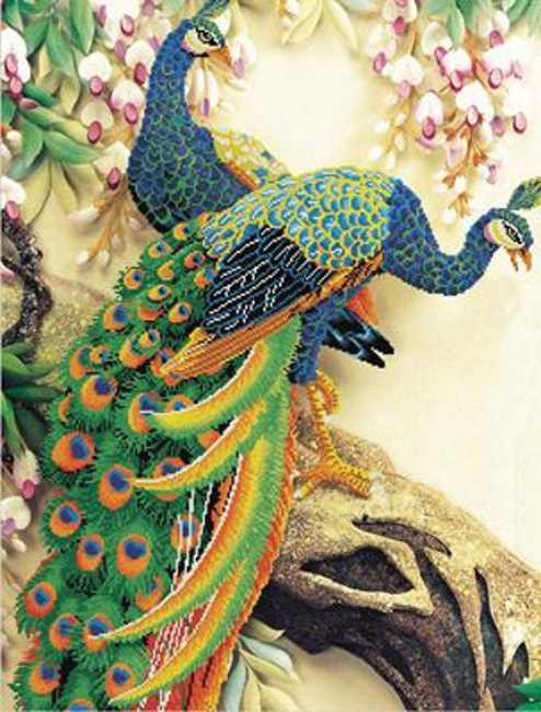 Peacock Majesty Printed Cross Stitch Kit by Needleart World