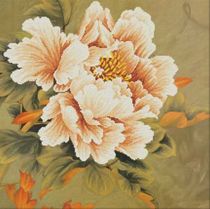 Blooming Peony Printed Cross Stitch Kit by Needleart World
