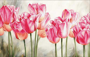 Pink Tulips Printed Cross Stitch Kit by Needleart World