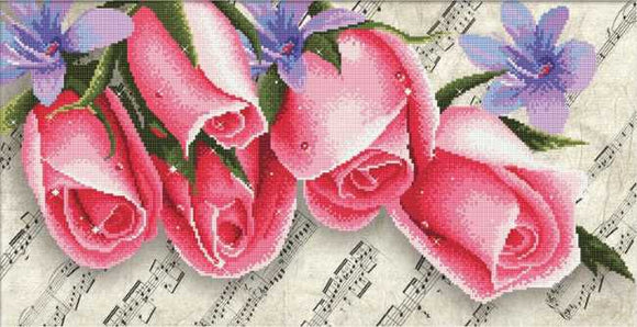 Pink Roses and Music Printed Cross Stitch Kit by Needleart World