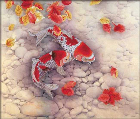 Koi Carp Printed Cross Stitch Kit by Needleart World