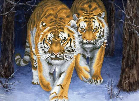Stalking Tigers Printed Cross Stitch Kit by Needleart World