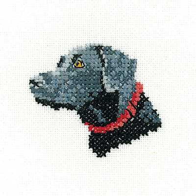 Black Labrador Cross Stitch Kit by Heritage Crafts