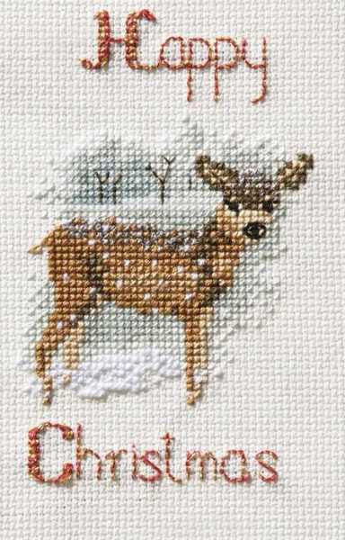 Deer in a Snowstorm Cross Stitch Christmas Card Kit by Derwentwater Designs