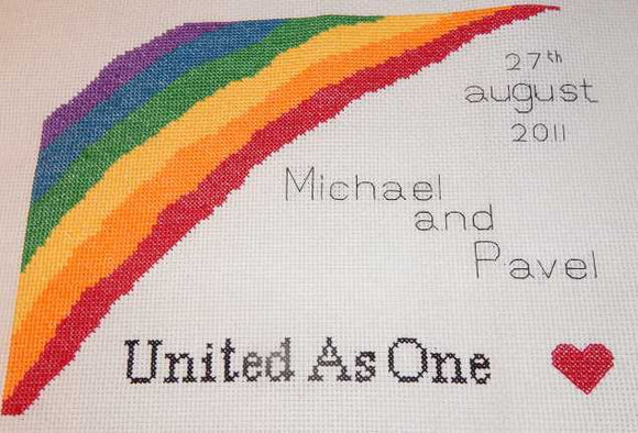 Rainbow Wedding Sampler Cross Stitch Chart by Rainy Day Designs