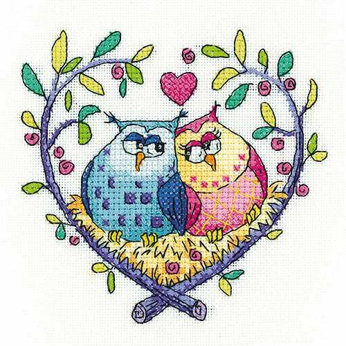 Love Owls Cross Stitch Kit by Heritage Crafts
