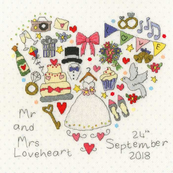 The Big Day Wedding Sampler Cross Stitch Kit By Bothy Threads
