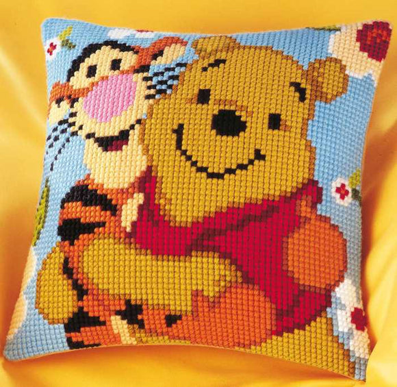 Winnie the Pooh and Tigger Printed Cross Stitch Cushion Kit by Vervaco