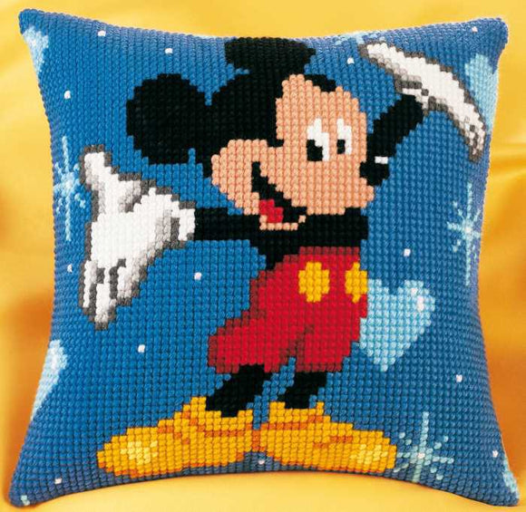 Mickey Mouse Printed Cross Stitch Cushion Kit by Vervaco