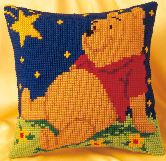 Winnie the Pooh Printed Cross Stitch Cushion Kit by Vervaco