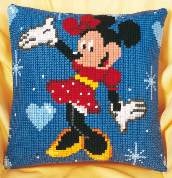 Minnie Mouse Printed Cross Stitch Cushion Kit by Vervaco