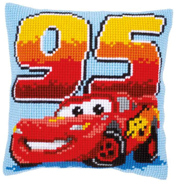 Lightening McQueen Printed Cross Stitch Cushion Kit by Vervaco