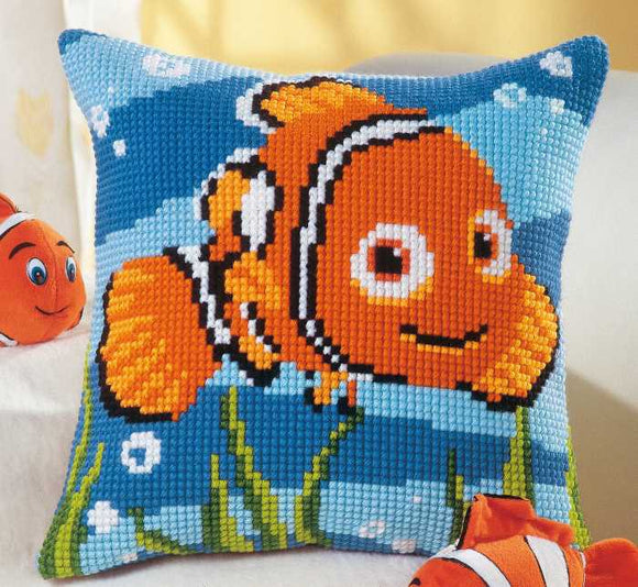 Nemo Printed Cross Stitch Cushion Kit by Vervaco