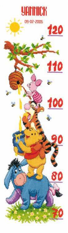 Winnie and Friends Height Chart Cross Stitch Kit By Vervaco