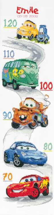 Cars Height Chart Cross Stitch Kit By Vervaco