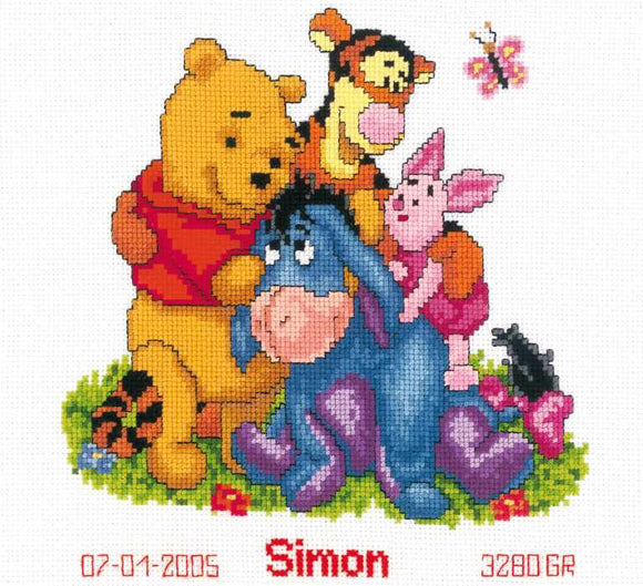 Winnie and Friends Birth Sampler Cross Stitch Kit By Vervaco