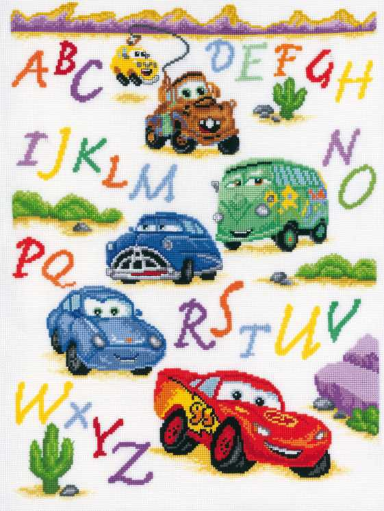 Cars Alphabet Cross Stitch Kit By Vervaco