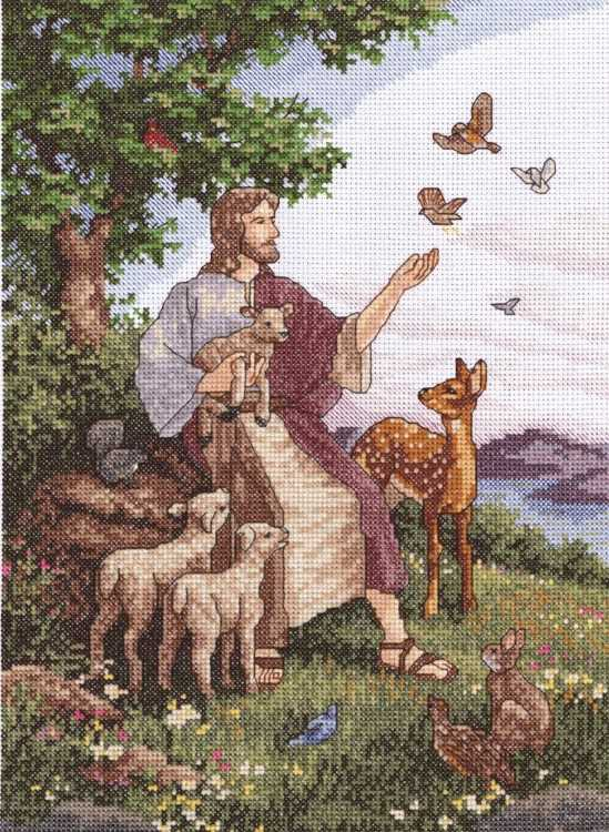 Jesus with Animals Cross Stitch Kit by Janlynn