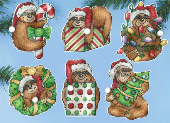 Sloth Christmas Tree Ornaments Cross Stitch Kit by Design Works