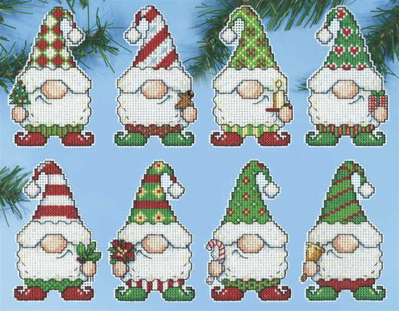 Gnomes Christmas Tree Ornaments Cross Stitch Kit by Design Works