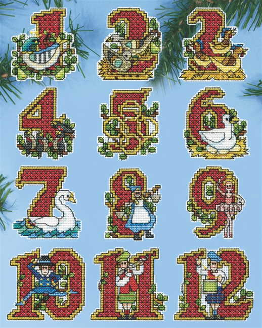 Twelve Days Christmas Tree Ornaments Cross Stitch Kit by Design Works