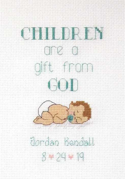 Gift from God Birth Sampler Cross Stitch Kit by Janlynn