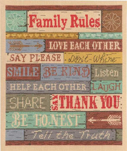 Family Rules Sampler Cross Stitch Kit by Janlynn