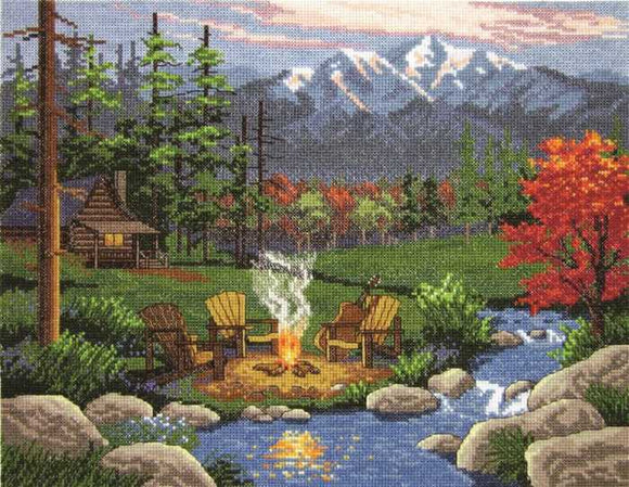 Camp Fire Cross Stitch Kit by Janlynn