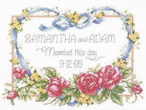 Married This Day Wedding Sampler Cross Stitch Kit by Janlynn