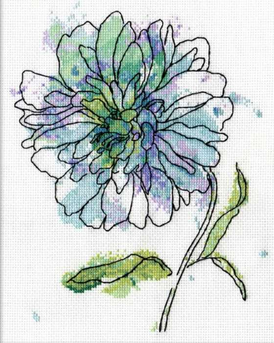 Blue Floral Cross Stitch Kit by Design Works