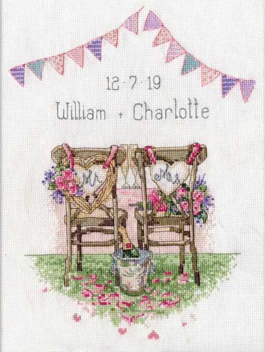Wedding Chairs Wedding Sampler Cross Stitch Kit by Design Works