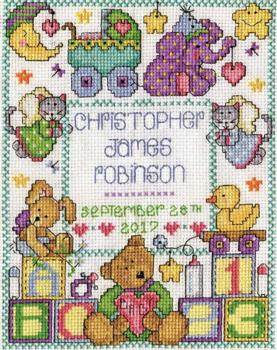 ABC Baby Birth Sampler Cross Stitch Kit by Design Works