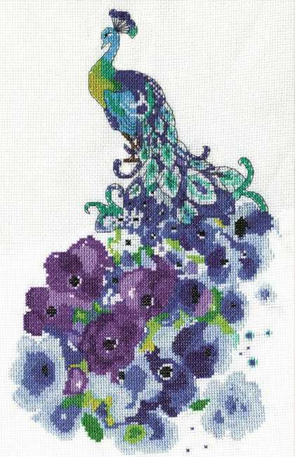 Floral Peacock Cross Stitch Kit by Design Works