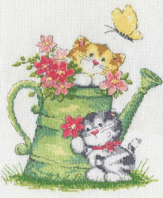 Watering Can Cats Cross Stitch Kit by Design Works