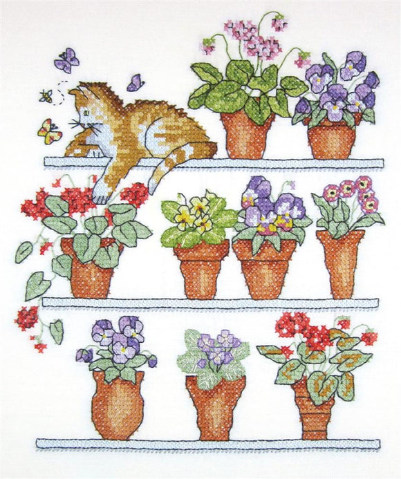 Cat on Shelf Printed Cross Stitch Kit by Janlynn