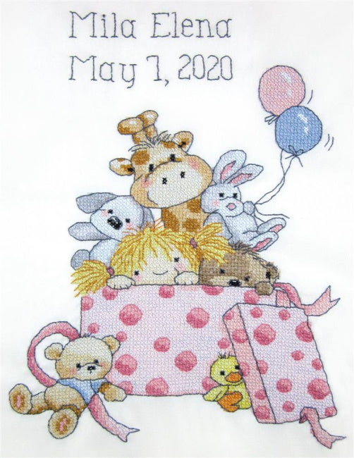 Girls Toys Birth Sampler Printed Cross Stitch Kit by Janlynn